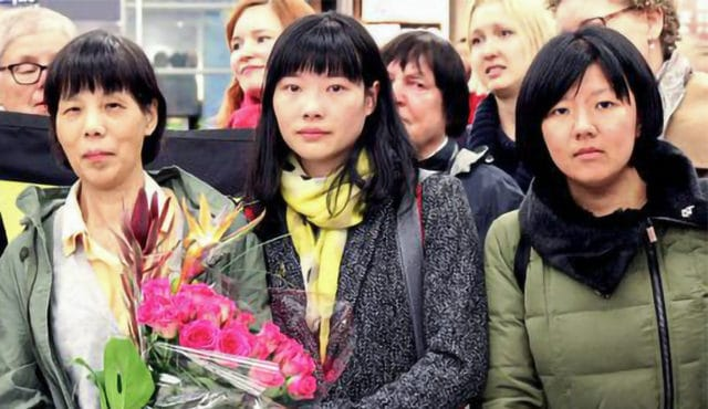 צ'ן זאן-פינג עם בתה בפינלנד ב-9 באוקטובר 2015.