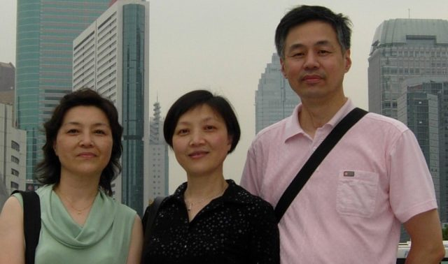 Wendy Zhao (left) with her sister Renyuan Zhao and her husband Jianxin Xie.